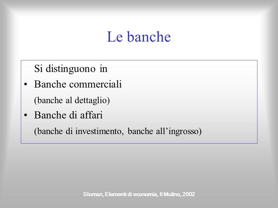 Sloman, Elementi di economia, Il Mulino, 2002 Le banche Si distinguono in Banche commerciali (banche al dettaglio) Banche di affari (banche di investi