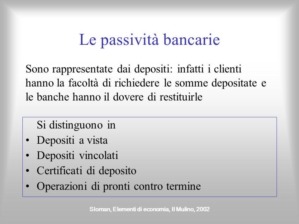 Sloman, Elementi di economia, Il Mulino, 2002 Le passività bancarie Si distinguono in Depositi a vista Depositi vincolati Certificati di deposito Oper