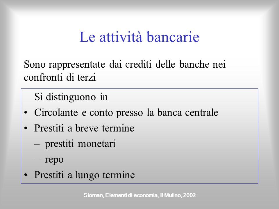 Sloman, Elementi di economia, Il Mulino, 2002 Le attività bancarie Si distinguono in Circolante e conto presso la banca centrale Prestiti a breve term