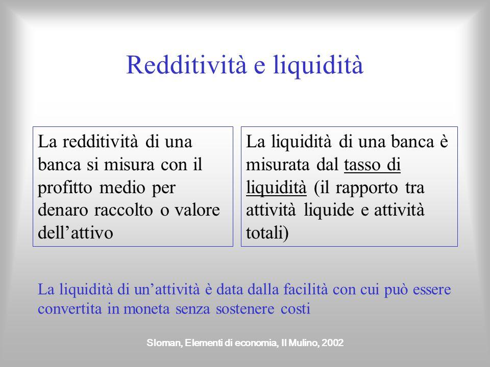 Sloman, Elementi di economia, Il Mulino, 2002 Il moltiplicatore dei depositi Un aumento iniziale dei depositi comporta un incremento dell'offerta di moneta pari all'ammontare dell'aumento per il moltiplicatore dei depositi Il moltiplicatore dei depositi è pari al reciproco del tasso di liquidità l Moltiplicatore dei depositi=1/l Nel nostro esempio con un tasso di liquidità pari al 10%, il moltiplicatore dei depositi è pari a 10 (10x10=100)