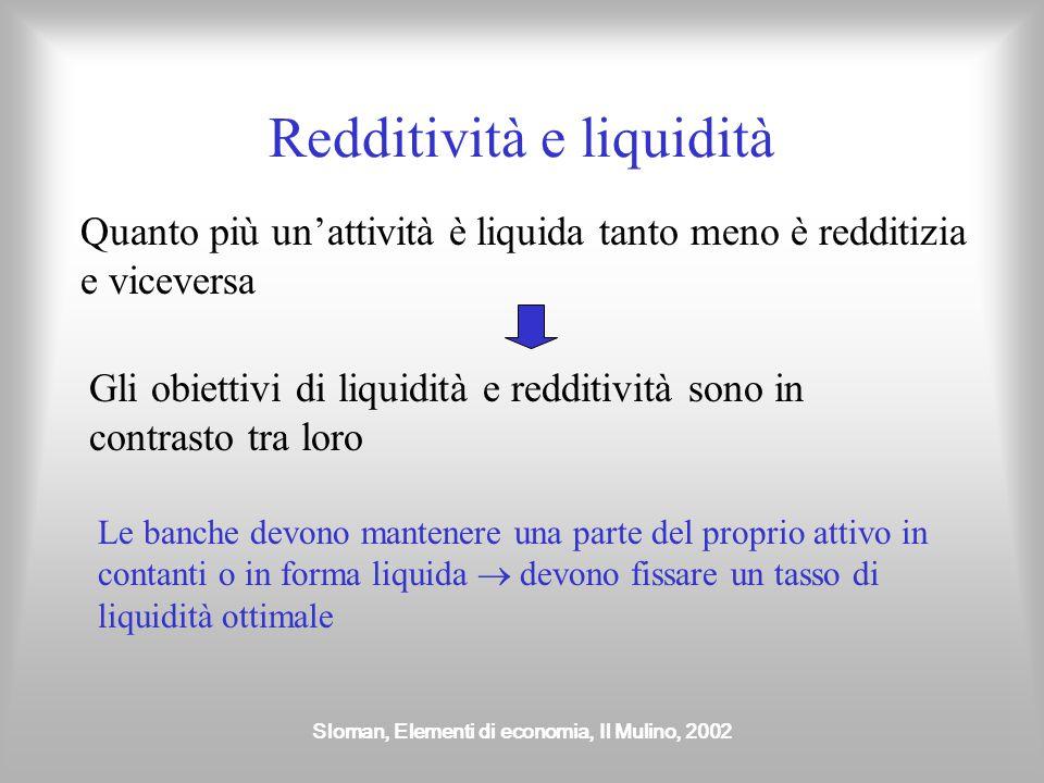 Sloman, Elementi di economia, Il Mulino, 2002 Redditività e liquidità Quanto più un'attività è liquida tanto meno è redditizia e viceversa Gli obietti
