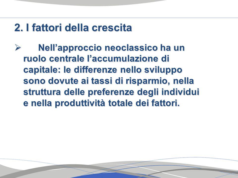 2. I fattori della crescita  Nell'approccio neoclassico ha un ruolo centrale l'accumulazione di capitale: le differenze nello sviluppo sono dovute ai