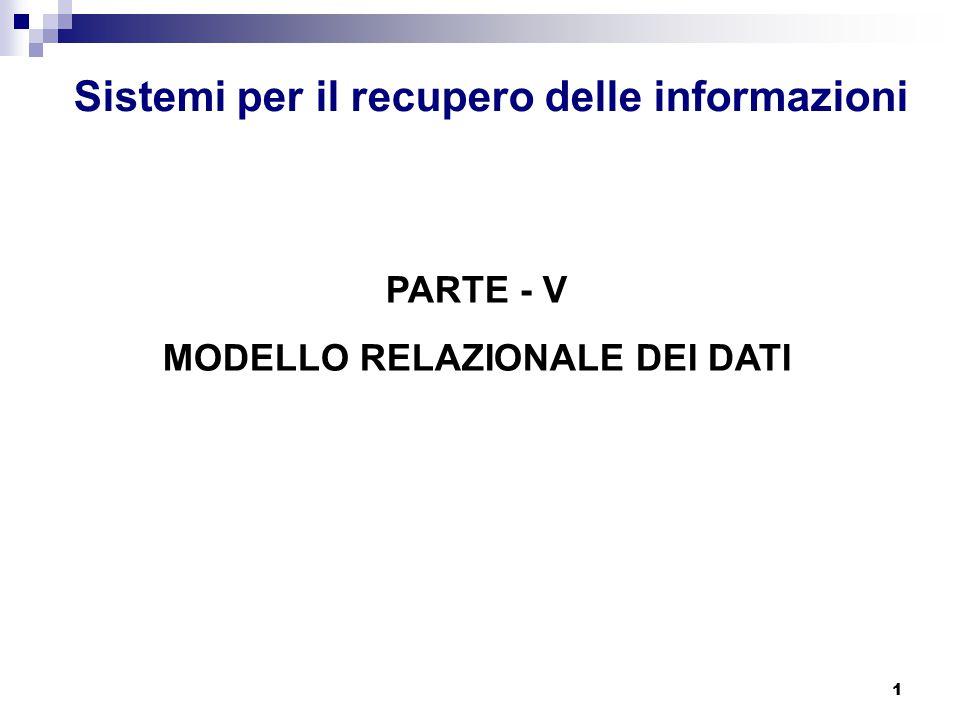 1 Sistemi per il recupero delle informazioni PARTE - V MODELLO RELAZIONALE DEI DATI