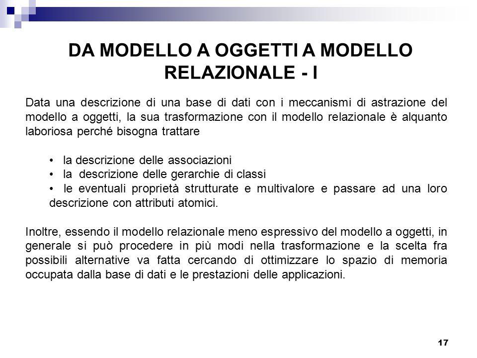 17 DA MODELLO A OGGETTI A MODELLO RELAZIONALE - I Data una descrizione di una base di dati con i meccanismi di astrazione del modello a oggetti, la su
