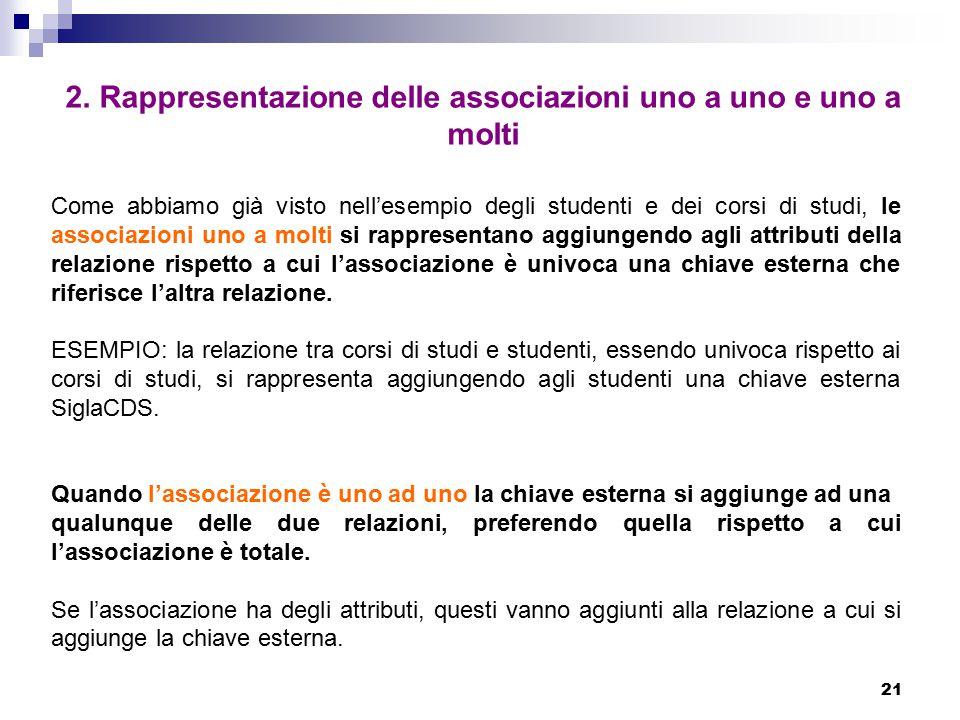 21 2. Rappresentazione delle associazioni uno a uno e uno a molti Come abbiamo già visto nell'esempio degli studenti e dei corsi di studi, le associaz