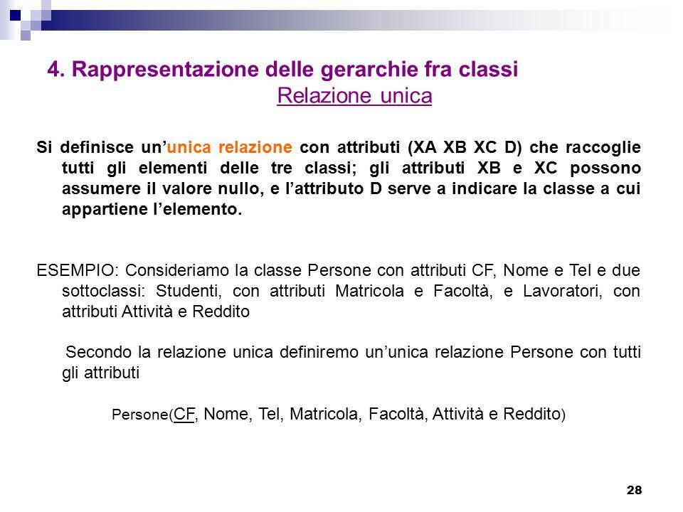28 4. Rappresentazione delle gerarchie fra classi Relazione unica Si definisce un'unica relazione con attributi (XA XB XC D) che raccoglie tutti gli e