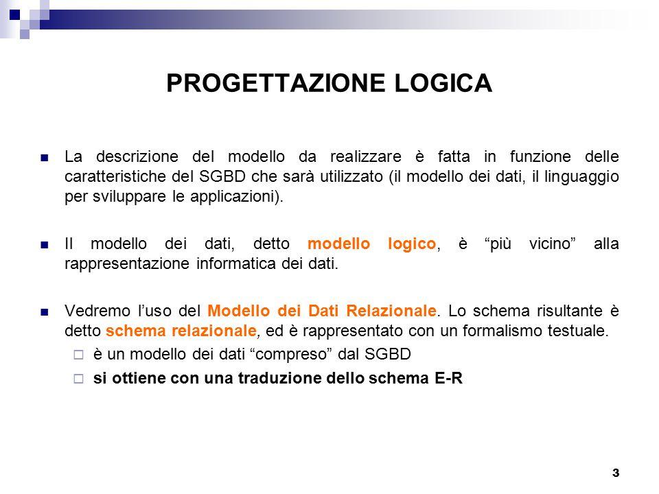 3 PROGETTAZIONE LOGICA La descrizione del modello da realizzare è fatta in funzione delle caratteristiche del SGBD che sarà utilizzato (il modello dei dati, il linguaggio per sviluppare le applicazioni).