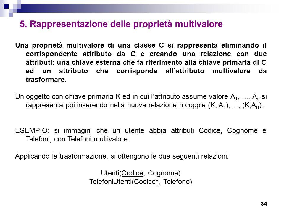 34 5. Rappresentazione delle proprietà multivalore Una proprietà multivalore di una classe C si rappresenta eliminando il corrispondente attributo da