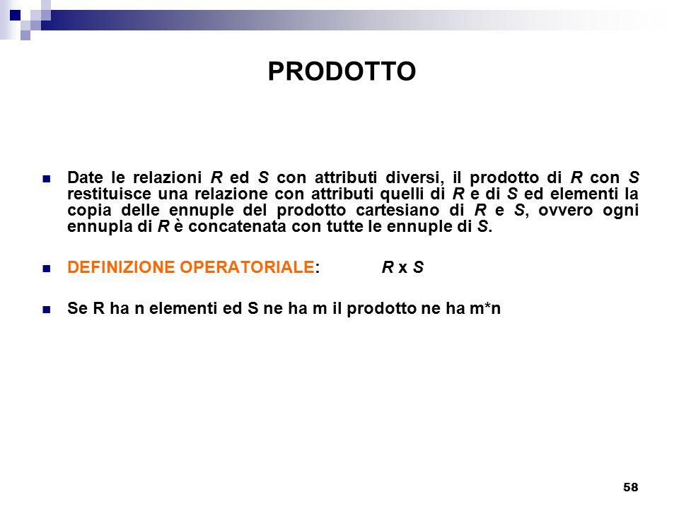 58 Date le relazioni R ed S con attributi diversi, il prodotto di R con S restituisce una relazione con attributi quelli di R e di S ed elementi la co