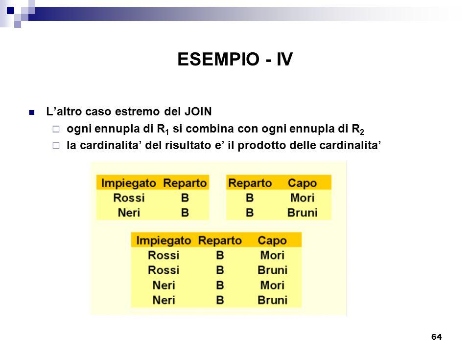 64 ESEMPIO - IV L'altro caso estremo del JOIN  ogni ennupla di R 1 si combina con ogni ennupla di R 2  la cardinalita' del risultato e' il prodotto delle cardinalita'
