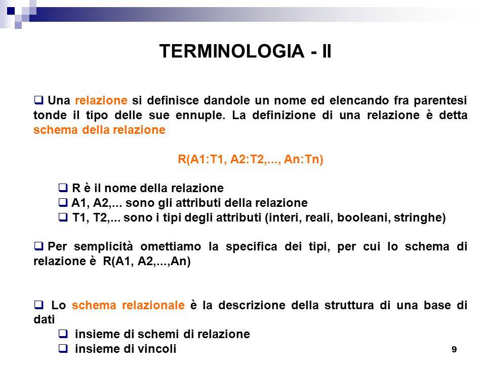 9 TERMINOLOGIA - II  Una relazione si definisce dandole un nome ed elencando fra parentesi tonde il tipo delle sue ennuple. La definizione di una rel
