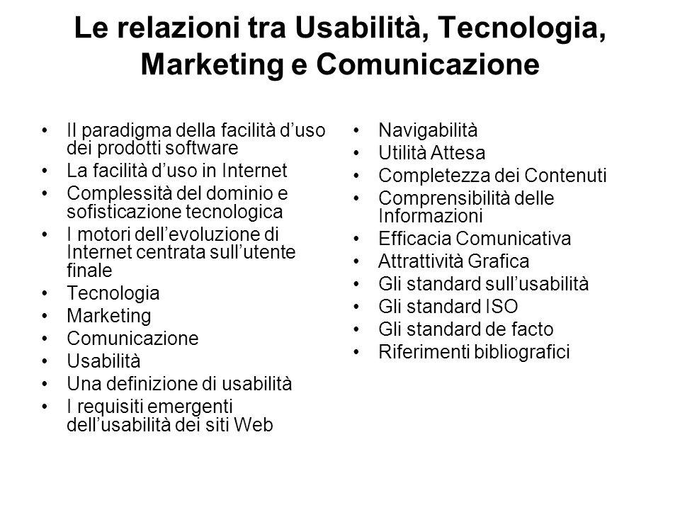 Le relazioni tra Usabilità, Tecnologia, Marketing e Comunicazione Il paradigma della facilità d'uso dei prodotti software La facilità d'uso in Internet Complessità del dominio e sofisticazione tecnologica I motori dell'evoluzione di Internet centrata sull'utente finale Tecnologia Marketing Comunicazione Usabilità Una definizione di usabilità I requisiti emergenti dell'usabilità dei siti Web Navigabilità Utilità Attesa Completezza dei Contenuti Comprensibilità delle Informazioni Efficacia Comunicativa Attrattività Grafica Gli standard sull'usabilità Gli standard ISO Gli standard de facto Riferimenti bibliografici