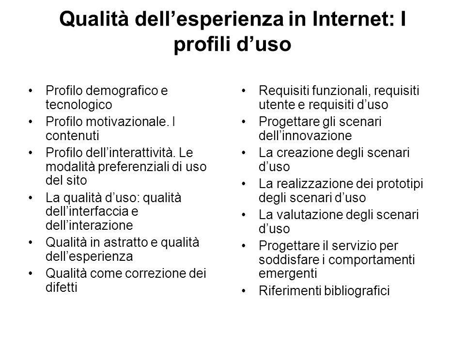 Qualità dell'esperienza in Internet: I profili d'uso Profilo demografico e tecnologico Profilo motivazionale.
