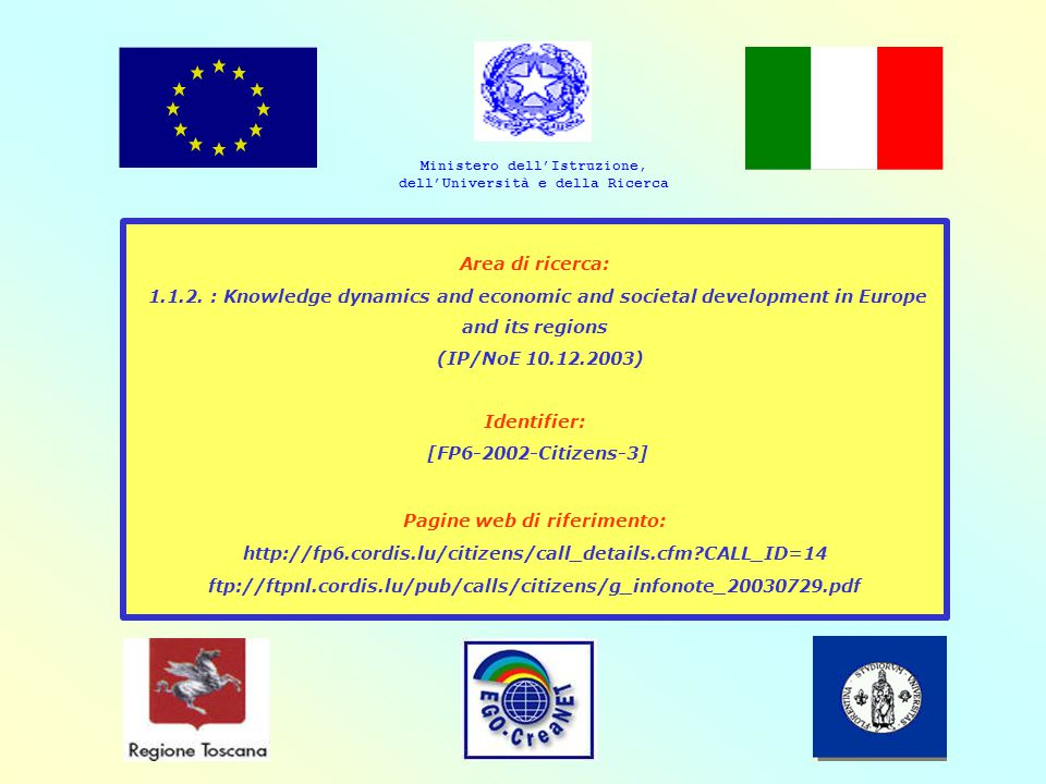 Area di ricerca: 1.1.2. : Knowledge dynamics and economic and societal development in Europe and its regions (IP/NoE 10.12.2003) Identifier: [FP6-2002