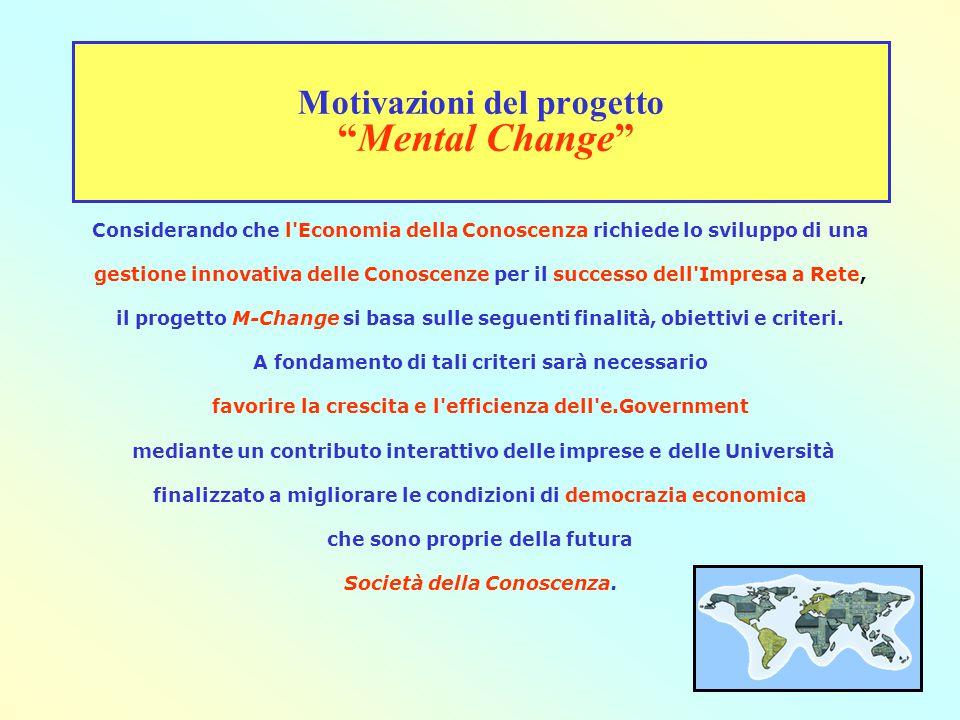 Motivazioni del progetto Mental Change Considerando che l Economia della Conoscenza richiede lo sviluppo di una gestione innovativa delle Conoscenze per il successo dell Impresa a Rete, il progetto M-Change si basa sulle seguenti finalità, obiettivi e criteri.