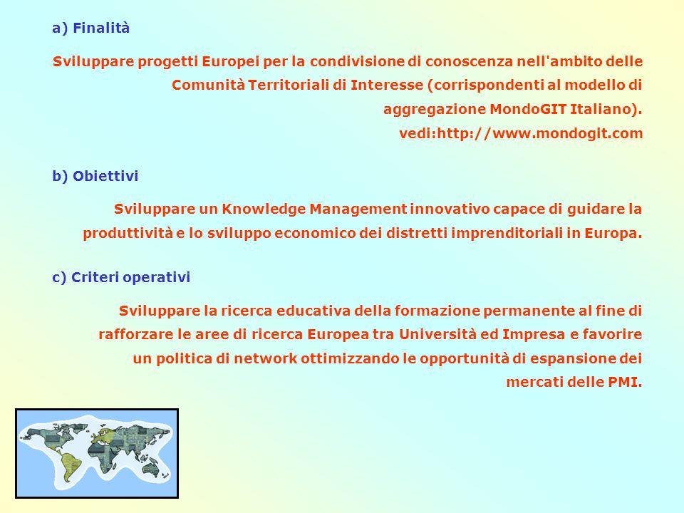 a) Finalità Sviluppare progetti Europei per la condivisione di conoscenza nell ambito delle Comunità Territoriali di Interesse (corrispondenti al modello di aggregazione MondoGIT Italiano).