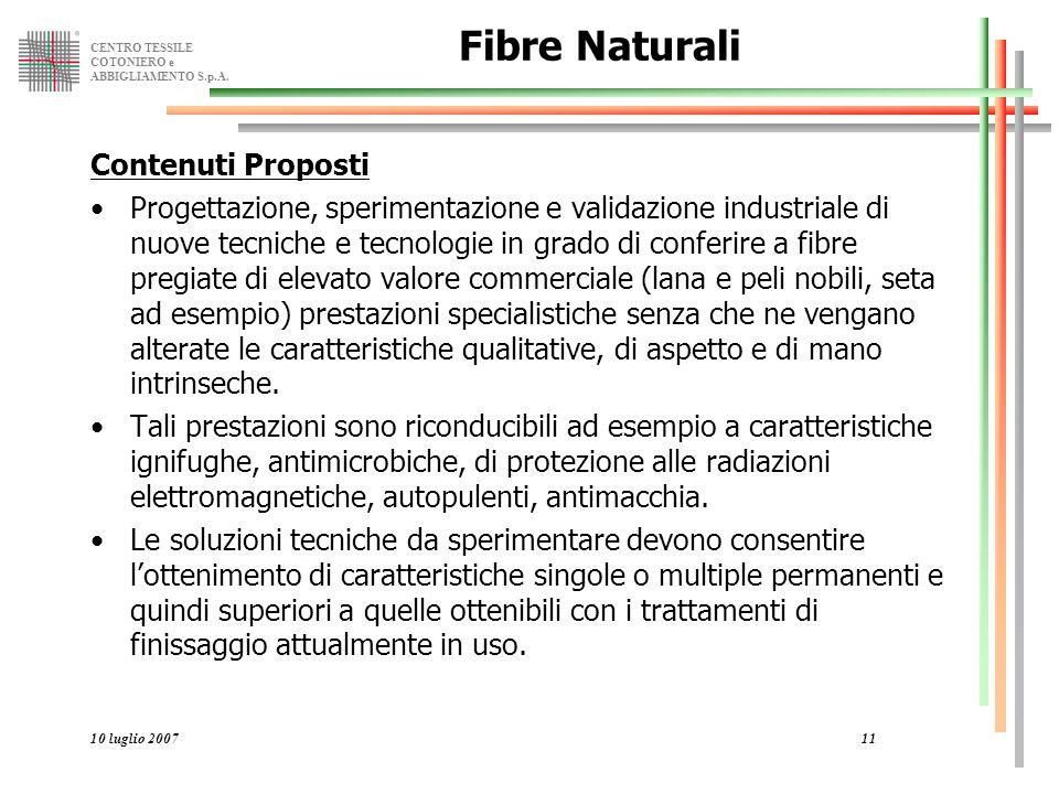 CENTRO TESSILE COTONIERO e ABBIGLIAMENTO S.p.A. 10 luglio 200711 Fibre Naturali Contenuti Proposti Progettazione, sperimentazione e validazione indust