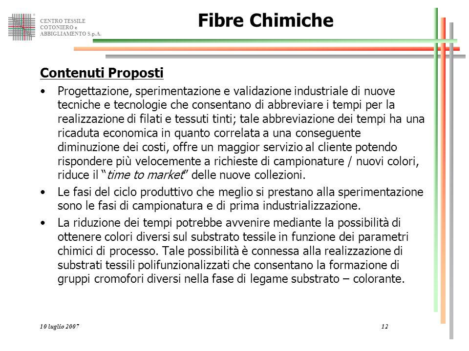 CENTRO TESSILE COTONIERO e ABBIGLIAMENTO S.p.A. 10 luglio 200712 Fibre Chimiche Contenuti Proposti Progettazione, sperimentazione e validazione indust