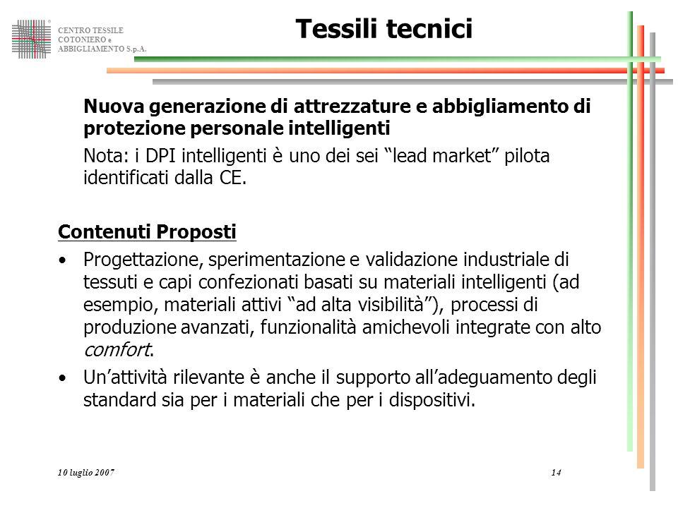 CENTRO TESSILE COTONIERO e ABBIGLIAMENTO S.p.A. 10 luglio 200714 Tessili tecnici Nuova generazione di attrezzature e abbigliamento di protezione perso