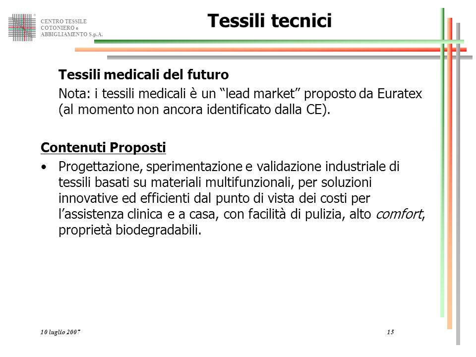 """CENTRO TESSILE COTONIERO e ABBIGLIAMENTO S.p.A. 10 luglio 200715 Tessili tecnici Tessili medicali del futuro Nota: i tessili medicali è un """"lead marke"""