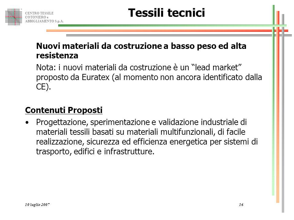 CENTRO TESSILE COTONIERO e ABBIGLIAMENTO S.p.A. 10 luglio 200716 Tessili tecnici Nuovi materiali da costruzione a basso peso ed alta resistenza Nota: