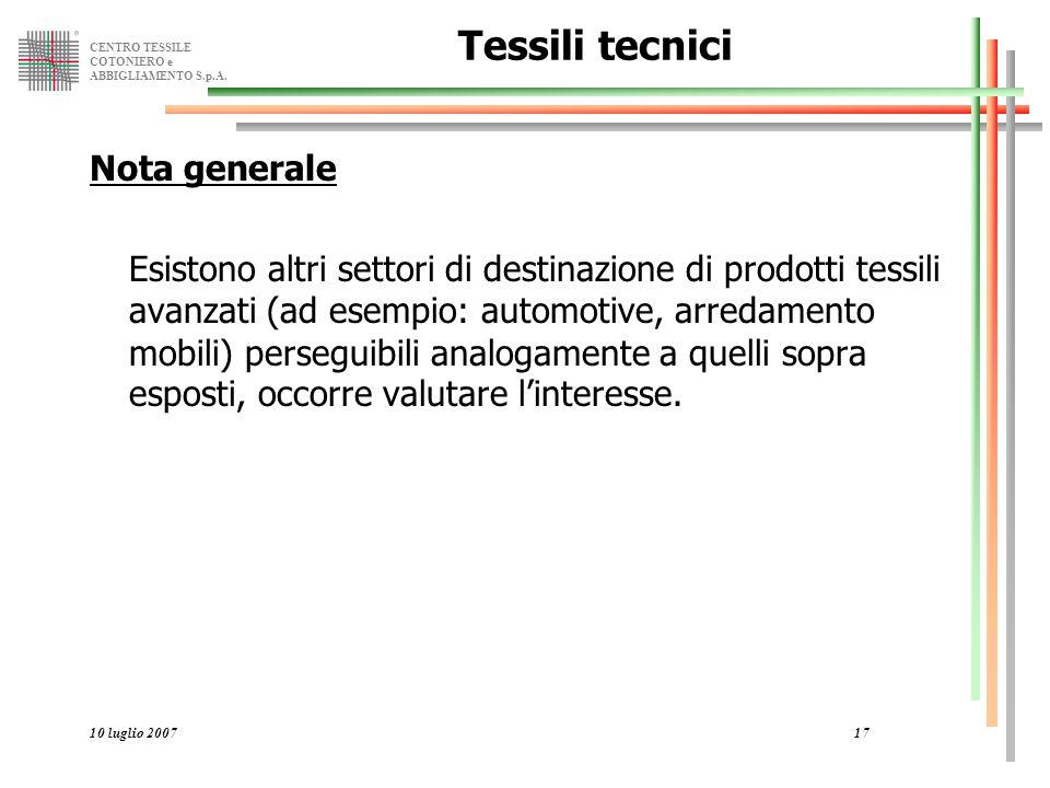 CENTRO TESSILE COTONIERO e ABBIGLIAMENTO S.p.A. 10 luglio 200717 Tessili tecnici Nota generale Esistono altri settori di destinazione di prodotti tess