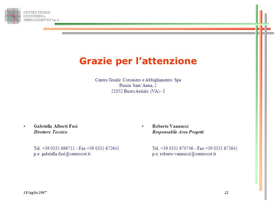 CENTRO TESSILE COTONIERO e ABBIGLIAMENTO S.p.A. 10 luglio 200722 Gabriella Alberti Fusi Direttore Tecnico Tel. +39 0331 696711 - Fax +39 0331 672641 p