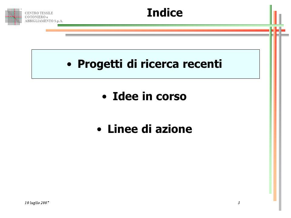 CENTRO TESSILE COTONIERO e ABBIGLIAMENTO S.p.A. 10 luglio 20073 Indice Progetti di ricerca recenti Idee in corso Linee di azione