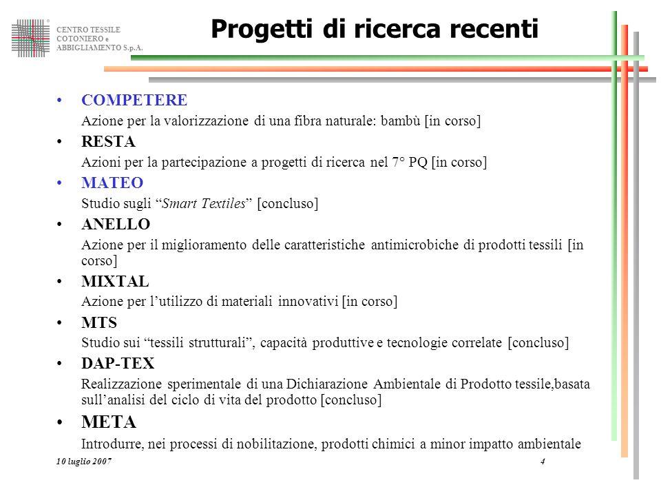 CENTRO TESSILE COTONIERO e ABBIGLIAMENTO S.p.A. 10 luglio 20074 Progetti di ricerca recenti COMPETERE Azione per la valorizzazione di una fibra natura
