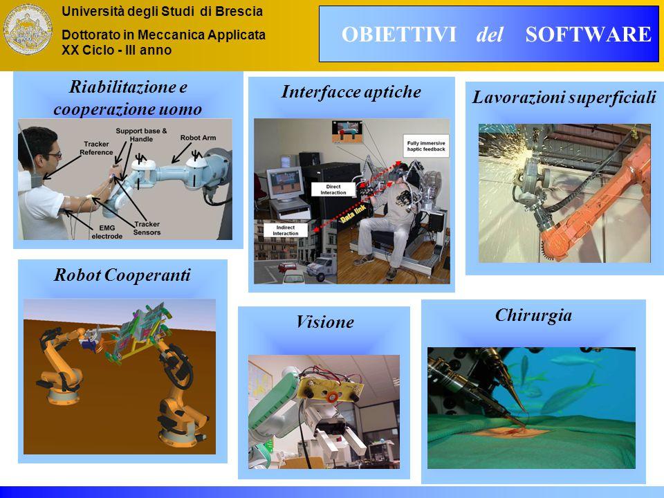 Università degli Studi di Brescia Dottorato in Meccanica Applicata XX Ciclo - III anno OBIETTIVI del SOFTWARE Visione Lavorazioni superficiali Chirurgia Interfacce aptiche Riabilitazione e cooperazione uomo macchina Robot Cooperanti