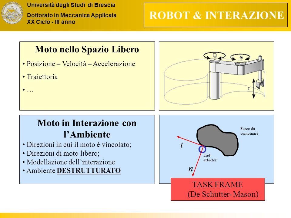 Università degli Studi di Brescia Dottorato in Meccanica Applicata XX Ciclo - III anno Moto nello Spazio Libero Posizione – Velocità – Accelerazione Traiettoria … Moto in Interazione con l'Ambiente Direzioni in cui il moto è vincolato; Direzioni di moto libero; Modellazione dell'interazione Ambiente DESTRUTTURATO ROBOT & INTERAZIONE End- effector Pezzo da contornare n t TASK FRAME (De Schutter- Mason)