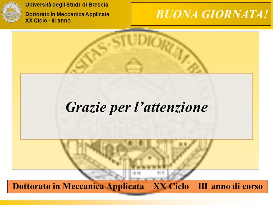 Università degli Studi di Brescia Dottorato in Meccanica Applicata XX Ciclo - III anno Grazie per l'attenzione Dottorato in Meccanica Applicata – XX Ciclo – III anno di corso BUONA GIORNATA!