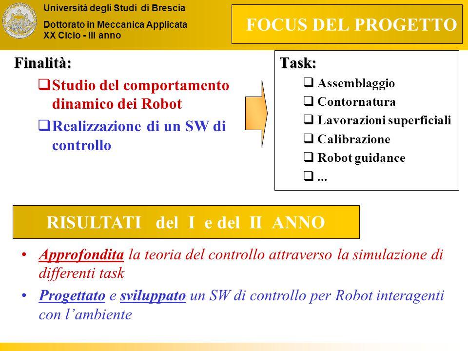 Università degli Studi di Brescia Dottorato in Meccanica Applicata XX Ciclo - III anno FOCUS DEL PROGETTO Task:  Assemblaggio  Contornatura  Lavorazioni superficiali  Calibrazione  Robot guidance ...