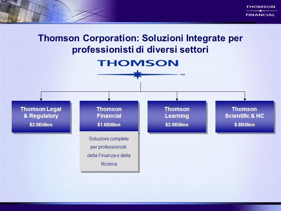Thomson Financial $1.6Billion Thomson Financial $1.6Billion Thomson Learning $2.0Billion Thomson Learning $2.0Billion Thomson Scientific & HC $.8Billi