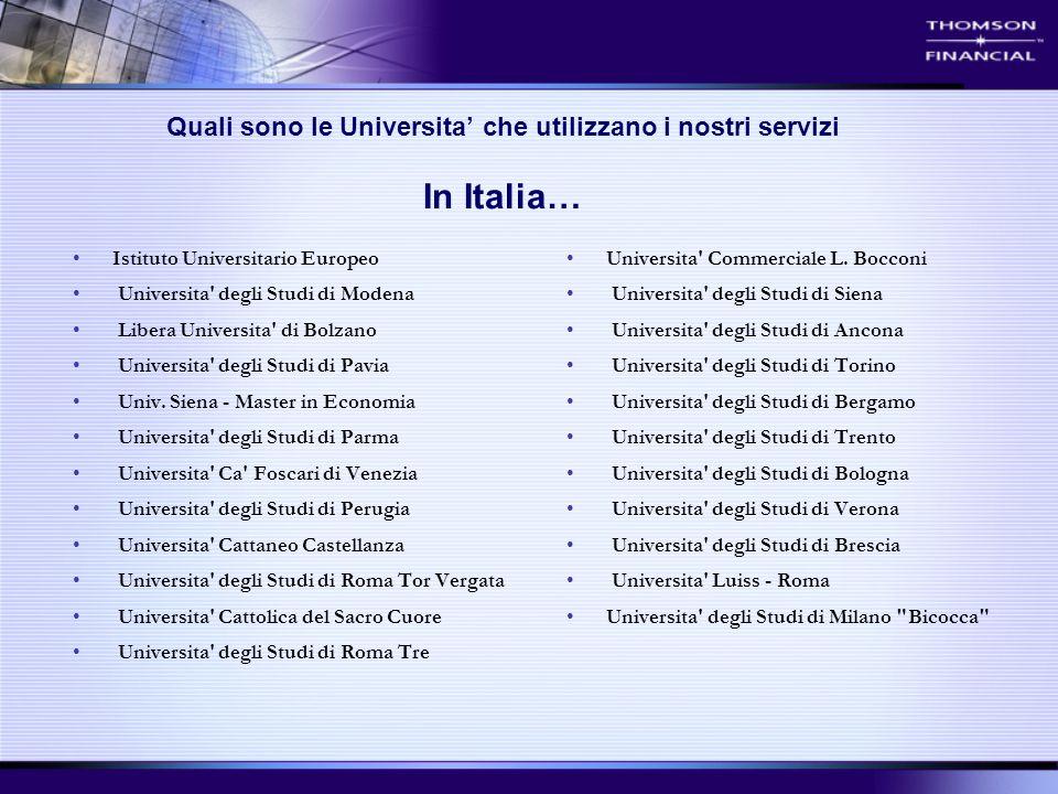 Quali sono le Universita' che utilizzano i nostri servizi In Italia… Istituto Universitario Europeo Universita' degli Studi di Modena Libera Universit