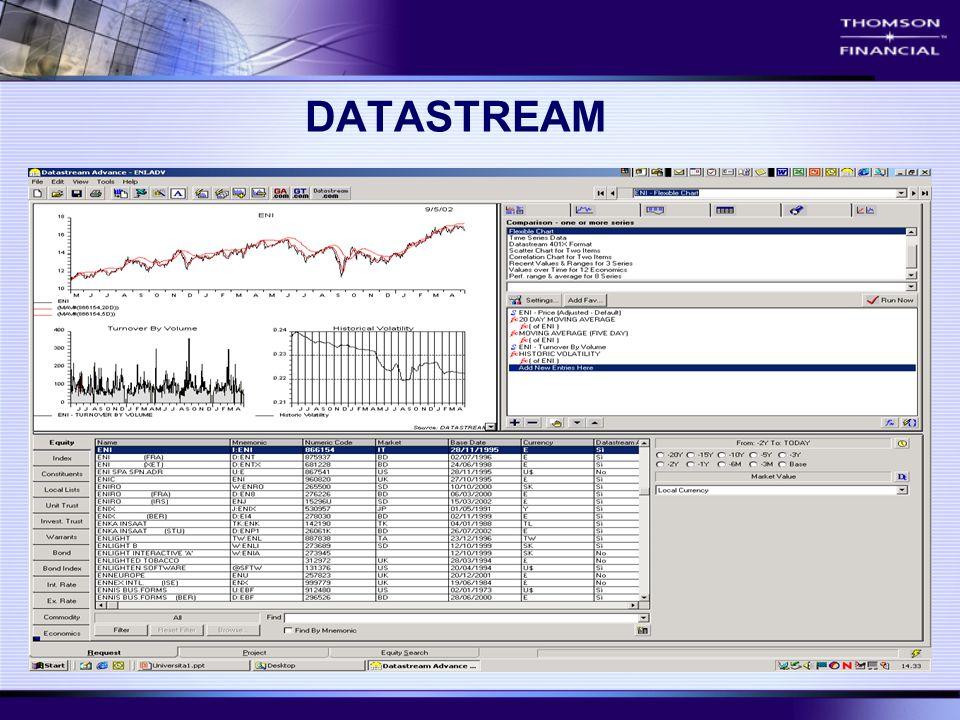 Il servizio Datastream si configura come il piu' importante e completo database di serie storiche ad oggi disponibile.