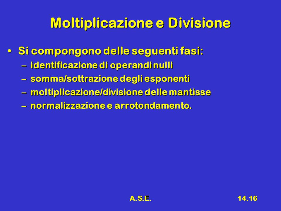 A.S.E.14.16 Moltiplicazione e Divisione Si compongono delle seguenti fasi:Si compongono delle seguenti fasi: –identificazione di operandi nulli –somma