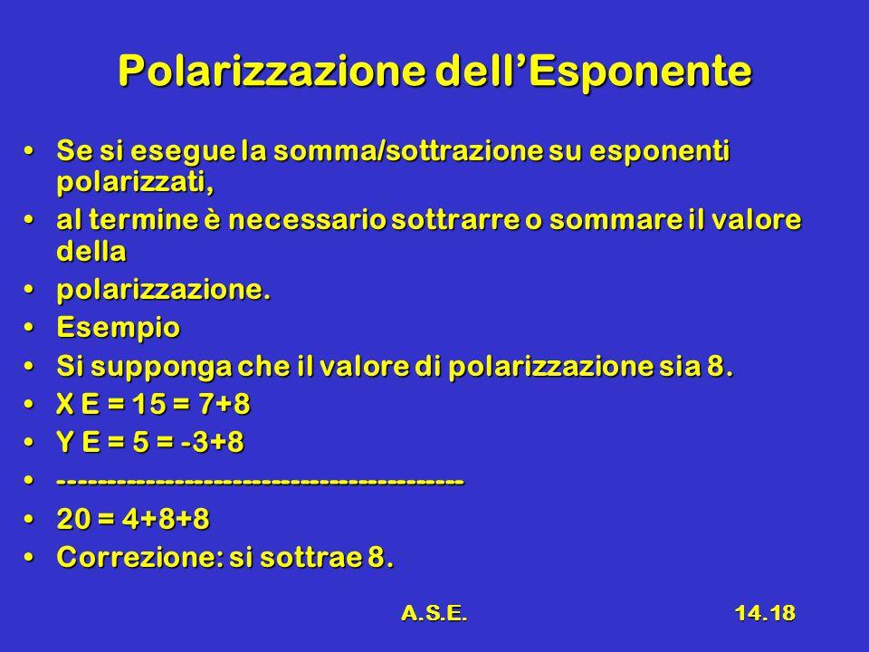 A.S.E.14.18 Polarizzazione dell'Esponente Se si esegue la somma/sottrazione su esponenti polarizzati,Se si esegue la somma/sottrazione su esponenti po
