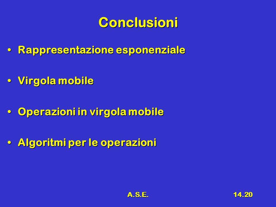 A.S.E.14.20 Conclusioni Rappresentazione esponenzialeRappresentazione esponenziale Virgola mobileVirgola mobile Operazioni in virgola mobileOperazioni