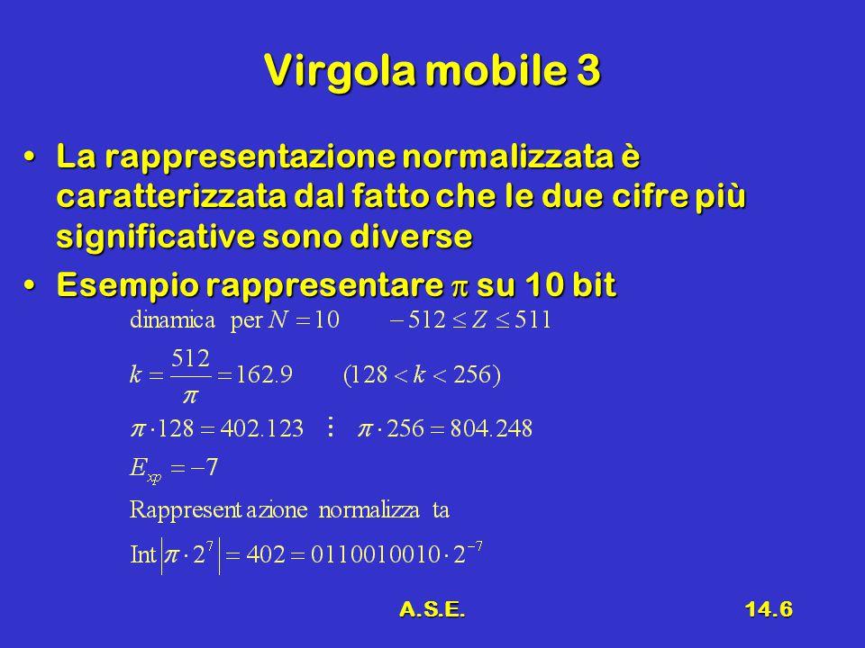 A.S.E.14.6 Virgola mobile 3 La rappresentazione normalizzata è caratterizzata dal fatto che le due cifre più significative sono diverseLa rappresentaz
