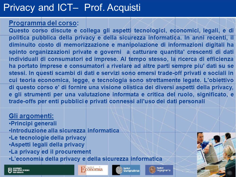 Privacy and ICT– Prof.