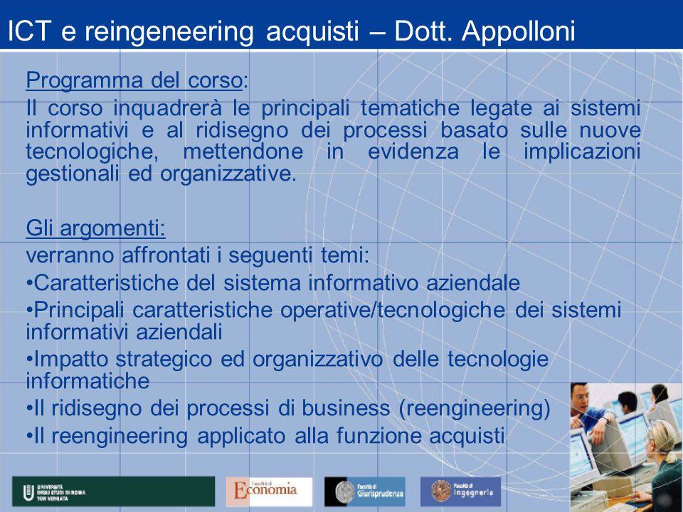 ICT e reingeneering acquisti – Dott.