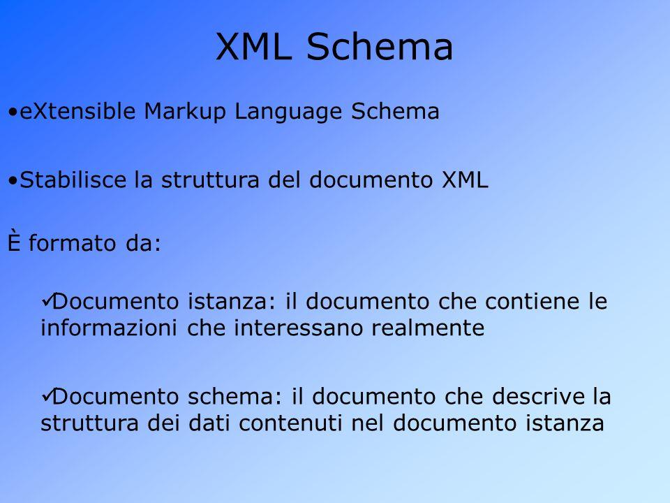 XML Schema eXtensible Markup Language Schema Stabilisce la struttura del documento XML È formato da: Documento istanza: il documento che contiene le informazioni che interessano realmente Documento schema: il documento che descrive la struttura dei dati contenuti nel documento istanza