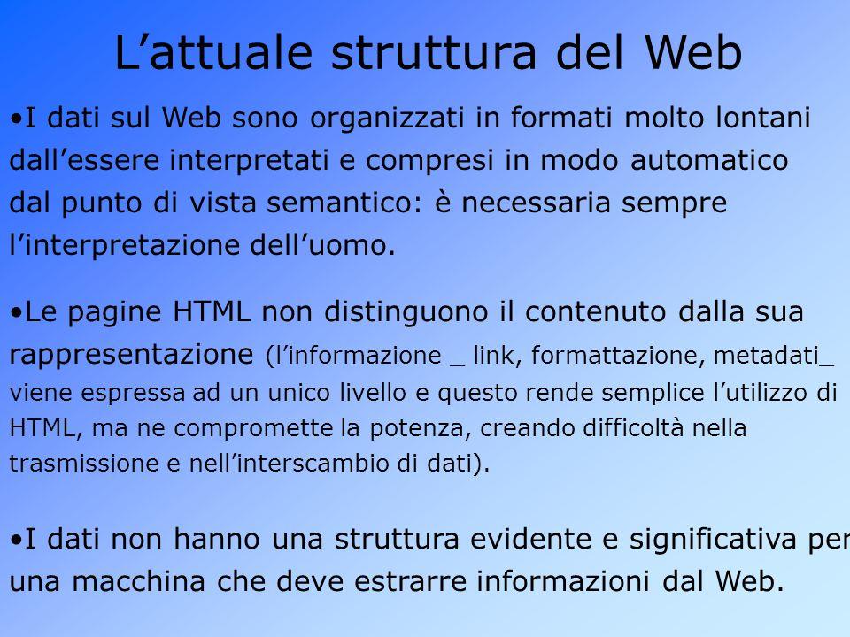 L'attuale struttura del Web I dati sul Web sono organizzati in formati molto lontani dall'essere interpretati e compresi in modo automatico dal punto di vista semantico: è necessaria sempre l'interpretazione dell'uomo.