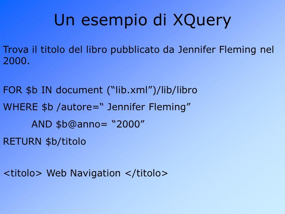 Un esempio di XQuery Trova il titolo del libro pubblicato da Jennifer Fleming nel 2000.