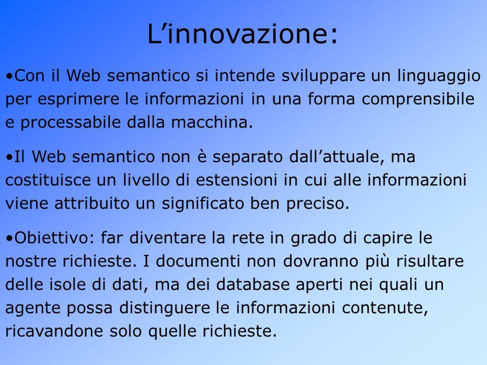 L'innovazione: Obiettivo: far diventare la rete in grado di capire le nostre richieste.
