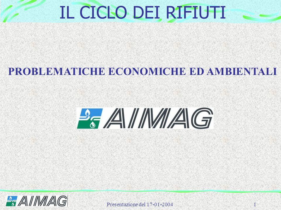 Presentazione del 17-01-20041 IL CICLO DEI RIFIUTI PROBLEMATICHE ECONOMICHE ED AMBIENTALI