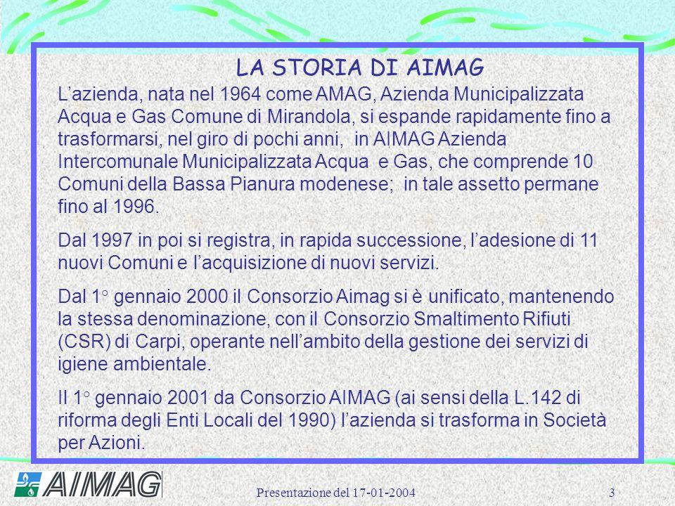 Presentazione del 17-01-20043 L'azienda, nata nel 1964 come AMAG, Azienda Municipalizzata Acqua e Gas Comune di Mirandola, si espande rapidamente fino