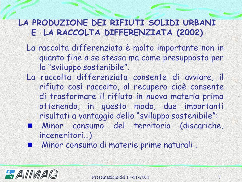 Presentazione del 17-01-20047 LA PRODUZIONE DEI RIFIUTI SOLIDI URBANI E LA RACCOLTA DIFFERENZIATA (2002) La raccolta differenziata è molto importante