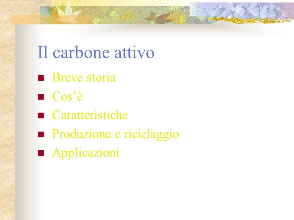 Il carbone attivo Breve storia Cos'è Caratteristiche Produzione e riciclaggio Applicazioni